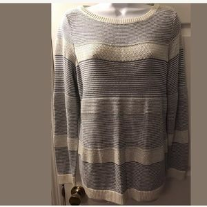 TALBOTS Striped Knit Sweater crewneck blue white